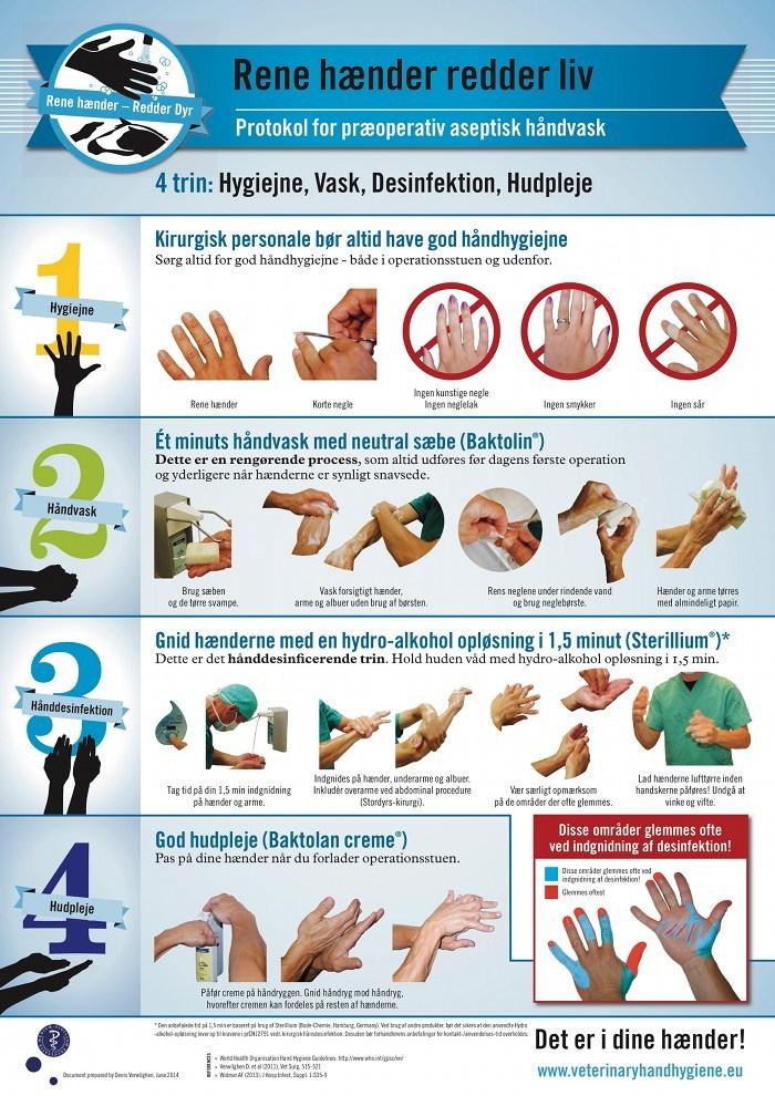 Rene hænder redder liv - visuel guide i hvordan man korrekt vasker og spritter hænder som dyrlæge