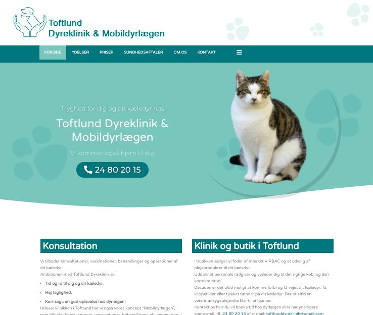 Design med med på tjeklisten til en hjemmeside her med Toftlund Dyreklinik
